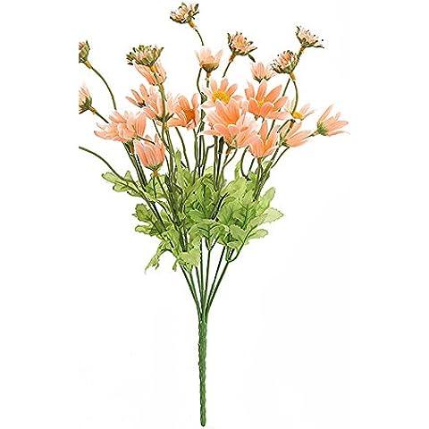 YSBER 5fiori artificiali CRISANTEMO fiori seta Bouquet Partito Decorazione Ufficio Casa Giardino Piante in vaso per San Valentino, compleanno, Natale regalo Champagne - Anemone Bouquet Da Sposa