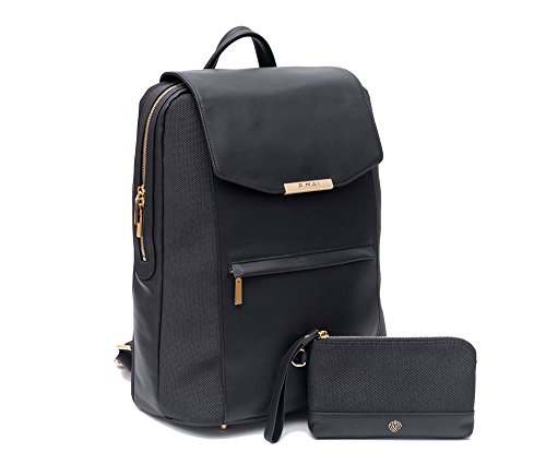 P.MAI Premium Valletta Leather Laptop Backpack for Women with Wristlet I 15-Inch Executive Laptop and Notebook Computer Backpack I Ideal for Business, Travel, Work I Incl. Commuter Purse - Black