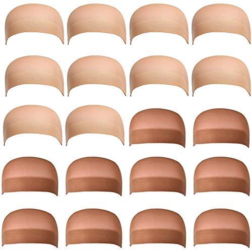20 Pezzi Wig Cap Calotte per Parrucca di Nylon Unisex Wig Caps, Calza Tappi Parrucca Hairnet Cap Protezione Della Parrucca Cap Retina per Capelli, Copricapo di Parrucche per Donne e Uomini