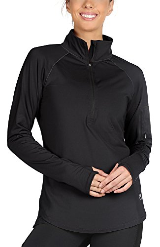 icyzone Damen Laufjacke Trainingsjacke 1/2 Zip Langarm Laufshirt im Winter (Black, S)