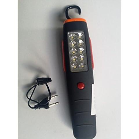 Linterna, Lámpara, Foco de Trabajo. 10 Leds + 1 Frontal + 6 Emergencia.Taller, Coche, Camping, Senderismo, Acampada, etc.