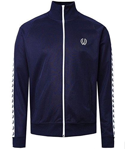 Fred Perry Taped Track Jacket Carbon Blue White, Veste Sport - S