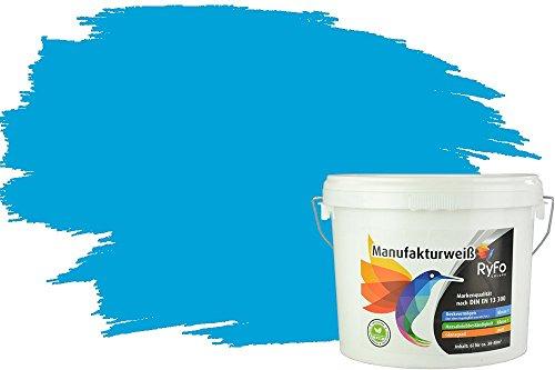 RyFo Colors Bunte Wandfarbe Manufakturweiß Azurblau 6l - weitere Blau Farbtöne und Größen erhältlich, Deckkraft Klasse 1, Nassabrieb Klasse 1