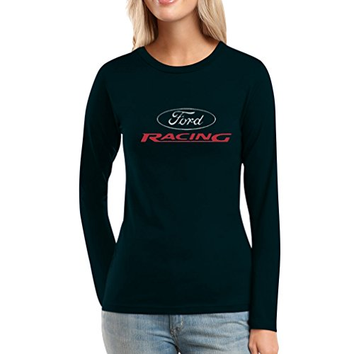 Ford Racing Logo Motorsport Mustang Power Auto Frauen Langarm-T-Shirt Small Schwarz -