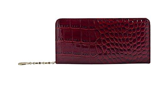 Lang Schlank Croc-Effekt Damen Geldbörse Kreditkarte PU Leder Mode ID Business Wallet (Wein) -