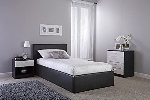 Home Source - Classic Faux Leather Side Lift Small Double 4Ft Ottoman Storage Beds in Black