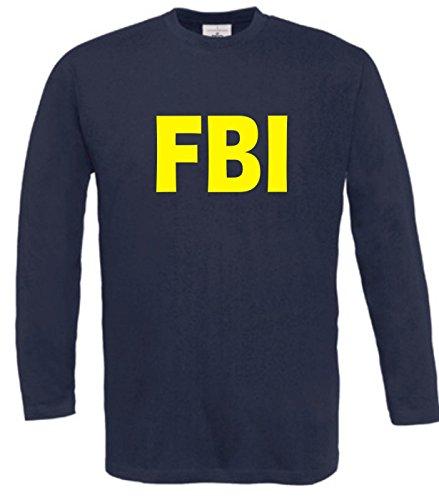 Spruchreif Langarm T-Shirt mit Druck FBI (Farbe navyblau) (Größe XXL)