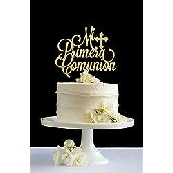 Monsety Primera Comunion Decoración para Tarta de Primera comunión con Purpurina para decoración de Tarta de Boda, Aniversario, decoración para Tartas, Regalo de Boda Divertido para la Pareja