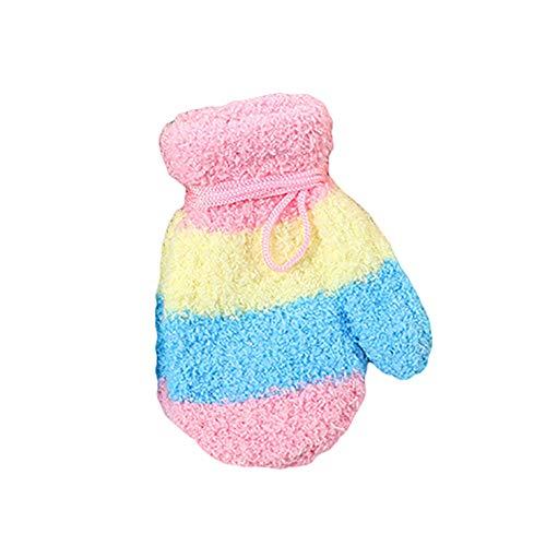 FeiyanfyQ Kinder Baby Jungen Mädchen Winter Farbe Block Hals Hängende Handschuhe Full Finger Fäustlinge