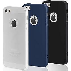 3 PCS × Coque iPhone SE / 5 / 5S Étui Silicone , Leathlux [Ultra Mince] Souple TPU Housse Protection Doux Gel Skin Coque pour Apple iPhone 5S / SE / 5 Noir, Bleu foncé, Blanc