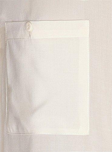 oodji Ultra Damen Viskose-Bluse mit Brusttaschen Elfenbein (Weiß-gelb 1200N)