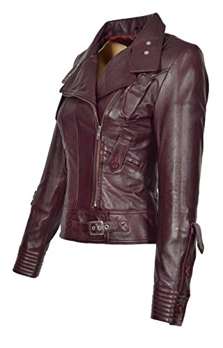 (A1 FASHION GOODS Damen Weich Echtes Leder Biker-Jacke Reißverschluss Ausgestattet Designer Mantel Wein - Sheila (XL - EU 42))