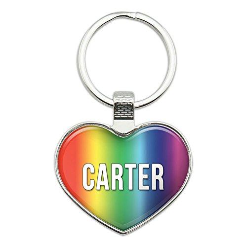 Metall Schlüsselanhänger Ring Rainbow I Love Herz Namen D Carter (Carters Herz)