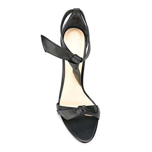 Damen Open Toe Sandalen High-Heels Stiletto Knöchelriemchen Schwarz