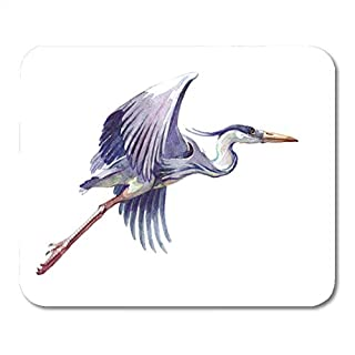 Mouse Pads Gray Beak Blue Flying Watercolor Single Heron Animal White Black Ardea Beautiful Mouse Pad