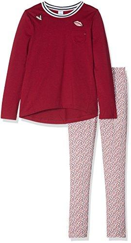 Sanetta Mädchen Zweiteiliger Schlafanzug 244035, Rot (Vino 3467), 128 (Mädchen Schlafanzug Roter)
