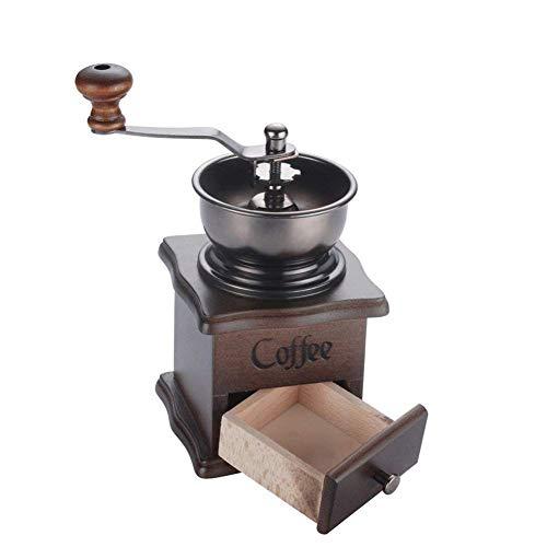 Lujiaoshout Manual Molinillo de café Molino de café de la Mano Base de Madera con el cajón del Grano...
