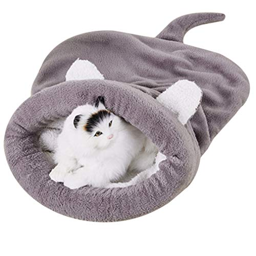 LnLyin Collapsible Portable Cat Kennel Warmer weicher Tunnel-Katzenschlafsack Comfort Soft Schlafsack, grau, L