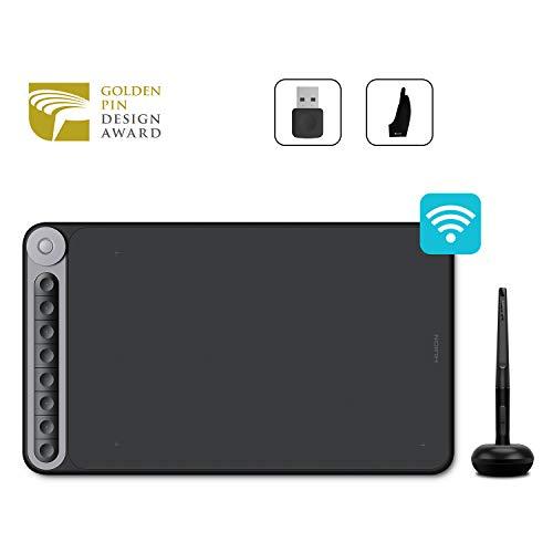 HUION Inspiroy Dial Q620M-Grafiktablett mit einem multifunktionalen Wählregler und 8 programmierbaren Tasten, 266PPS-Berichtrate, Unterstützung für drahtlose Konnektivität