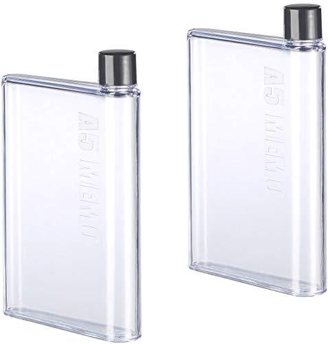 Rosenstein & Söhne 2x Ultraflache Wasser-Flasche im A5-Notizbuch-Format, 420 ml XX