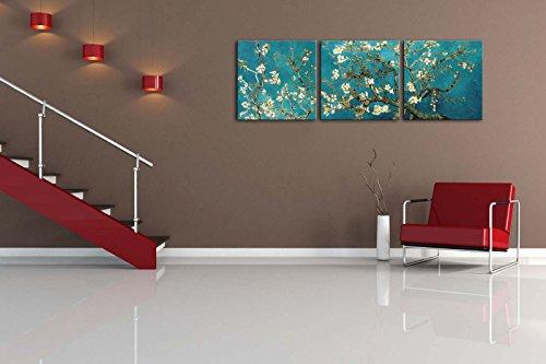 confronta il prezzo Quadri decorativi per la casa, su tela, motivo: mandorlo in fiore di Van Gogh, del 1890, riproduzione Giclée su 3 pannelli, con tela stesa e incorniciata, per la decorazione del soggiorno, personalizzabili miglior prezzo