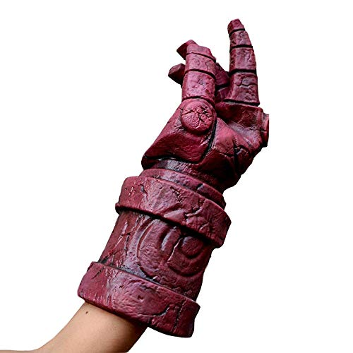 wnddm Horror Hellboy Mask Kostüm Herren Integralhelm Halloween Kostüm Requisiten für Herren Scary Mask Hellboy Kostüme Erwachsene@Handschuhe_Einheitsgröße (Scary Kostüm Herren)