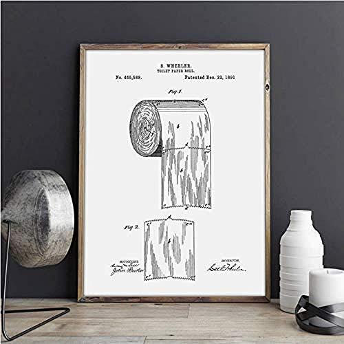 XIANGLL Poster Und Drucke Rolle Toilettenpapier Blueprint Wandkunst Bilder Leinwand Malerei Geschenk Ohne Rahmen 50 * 70 cm