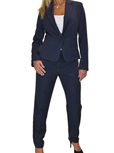 ICE Damen Anzug mit Hose - für Büro oder Geschäft - Designer-Look Navy Blau 36-48 (40) (Hosen-anzug Maßgeschneiderte)