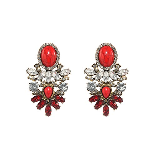 Statement Stud Pendientes Rojo Drop Dangle Earrings Red para Mujer Novedad Mode Joyería 1 Par con Color Caja Regalo- HLE015 Red