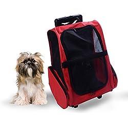 Transportin Carrito Perro 2 en 1 Mochila Carrito 35x27x49 cm Mascotas Perro Gato Rojo