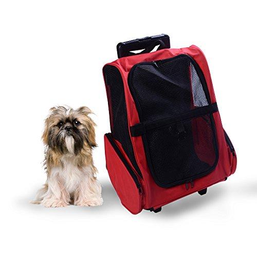 Imagen de transportin carrito perro 2 en 1  carrito 35x27x49 cm mascotas perro gato rojo