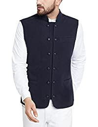 Hypernation Navy Blue Color Double Breast Cotton Waistcoat for Men(HYPM02141)