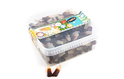Fruchtgummi Cola Fläschchen ohne Zucker und Gelatine - in einer praktischen AromaFrischeNaschbox 1kg - Deine Naschbox.