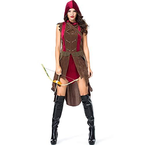 Beängstigend Kleinkind Kostüm - COSOER Archer Hunter Cosplay Kostüm Warrior Show Kleidung Mit Köcher Für Halloween Female Wear,Yellow-M