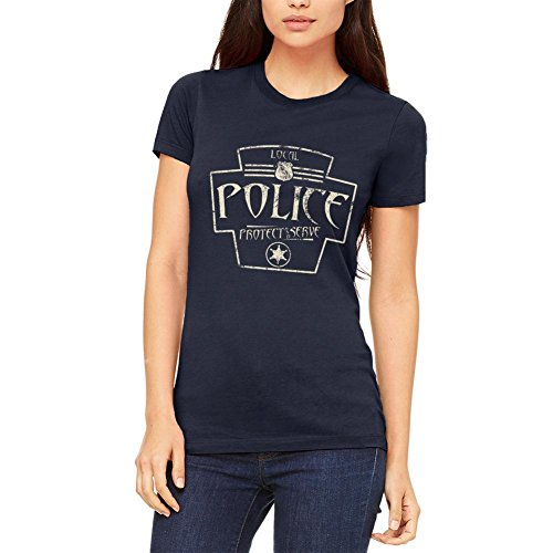 Örtliche Polizei dienen und schützen Retro Vintage Junioren weichen T Shirt Marine MD (Junioren T-shirt Marines)
