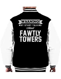 Warning May Start Talking About Fawlty Towers Mens Varsity Jacket