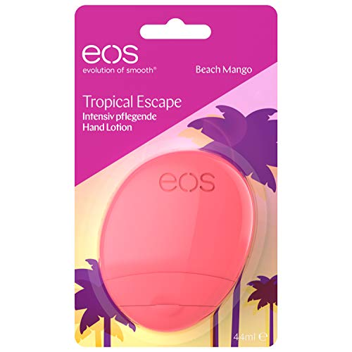 eos Tropical Escape Beach Mango Hand Lotion, feuchtigkeitsspendende Handcreme, mit Mango- & Kokosnuss-Aroma, für zarte Hände, mit Kakao- & Sheabutter, 44 ml - Feuchtigkeitsspendende Creme-geschenk-set