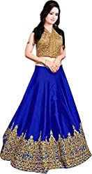Nirvan Fashion Womens Blue Satin Lehenga-Choli - (minaxi blue | Free Size)