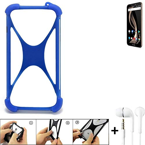 K-S-Trade Handyhülle für Allview X4 Soul Infinity Z Bumper Schutzhülle Silikon Schutz Hülle Cover Case Silikoncase Silikonbumper TPU Softcase Smartphone, Blau (1x), Headphones