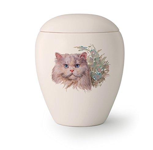 Tierurne, 'Edition Bianco', 0,5 ltr. creme-weiß, Motiv Katze (Katze 6)