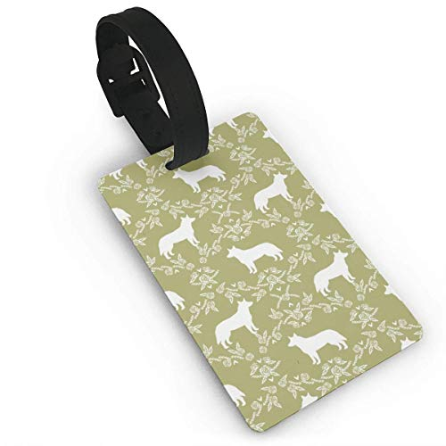 VAICR Kofferanhänger,Australian Cattle Dog Pet Quilt D Cheater Quilt Silhouette Coordinate Travel Luggage Tags for Baggage Bags/Suitcases Name ID Labels for Travel
