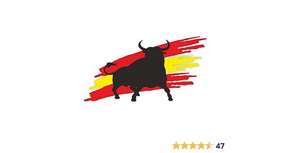 1 Sticker Stier Mit Flagge I Kfz 263 I 20 X 10 5 Cm Groß I Auto Aufkleber Wohnmobil Notebook Laptop I Spanien Espana Bulle I Wetterfest Auto
