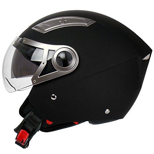Mach1® Jethelm Helme Motorradhelm Helm schwarz Roller Scooter in den Gr.XS bis Gr.XXL mit Sonnenblende (Schwarz-matt mit kurzes Visier, 63-64cm (XXL))
