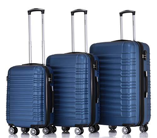 BEIBYE- 3er Kofferset Hartschalen-Koffer Reisekoffer Trolley Rollkoffer Set Reisekofferset (Black)