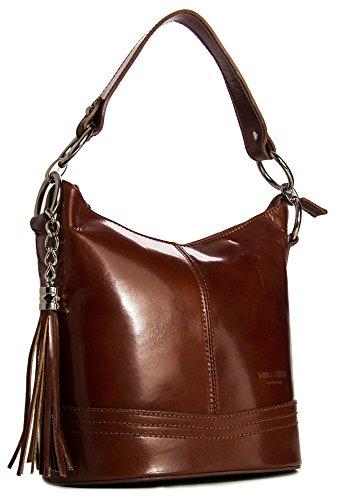 Big Handbag Shop mittelgroße Damen Schultertasche aus echtem Leder mit Obergriff und Bucketform Medium Tan