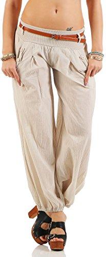 Malito Damen Chino Hose in Uni Farben   Freizeithose mit Gürtel   Sommerhose für den Strand   Haremshose - Pumphose 6017 (beige, S)