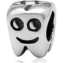 soulbead Happy sonriente diente encanto venta genuino 925plata de ley para pulsera Europea Compatible