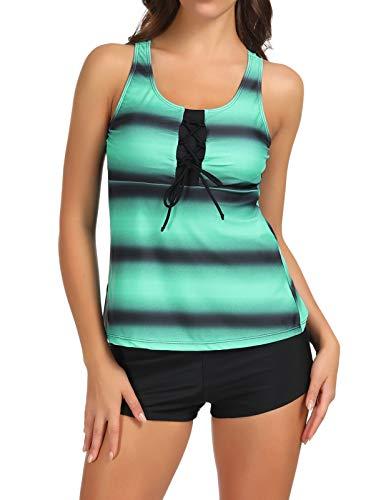 Zexxxy Badeanzug Damen Figurformend Tankini mit Oberteile und Badeshorts Badeanzug Beachwear Zweiteiler Bademode mit Bügeln UV Schutz Grün Gr.46 XL -