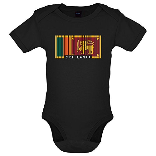 Dressdown Sri Lanka Barcode Flagge - Lustiger Baby-Body - Schwarz - 6 bis 12 Monate -