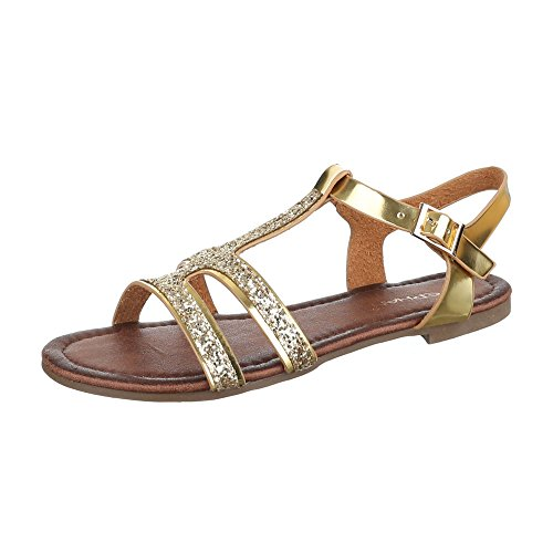 Riemchensandalen Damen Schuhe Knöchelriemchen Blockabsatz Riemchen Schnalle Ital-Design Sandalen / Sandaletten Gold, Gr 39, Ax-52-